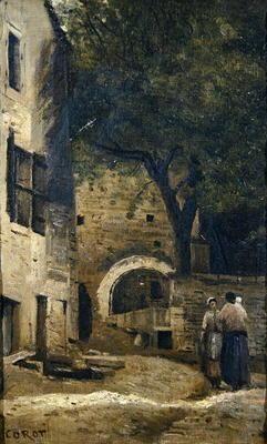 Jean-Baptiste-Camille Corot - A village scene (oil on canvas)