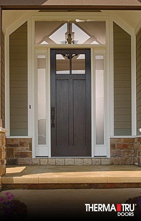 2 Panel Craftsman Style Fiberglass Exterior Door Therma Tru Fiberglass Exterior Doors Front Door Styles Exterior Doors