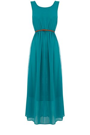 A sheer maxi dress with a slightly shorter under layer, this is belted to give a fitted waist. Sleeveless in style this is the perfect transitional piece.