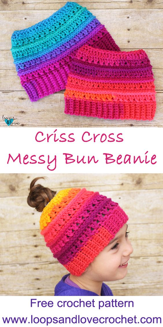 Criss Cross Messy Bun Beanie - Free crochet pattern and photo tutorial. Easy crochet pattern with lots of texture and style!  #crochetbeanie #freecrochetpattern #crochethat #handmadebyme #crochetgirlgang #crocheteveryday #crisscrossstitch