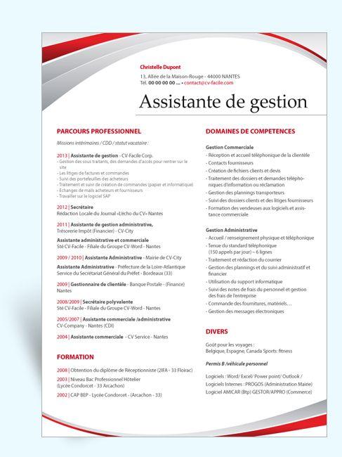 exemple de cv assistante administrative hs23