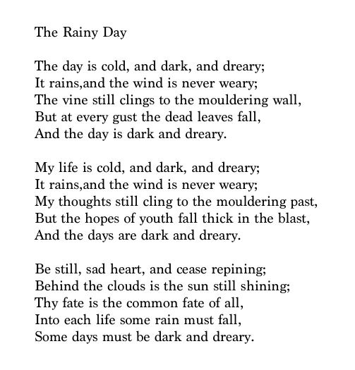 """Poems About Rainy Days: """"Be Still, Sad Heart, And Cease Repining; Behind The"""