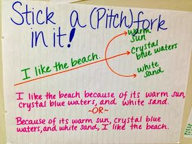 Anchor chart for Pitchforking: adding a series of details to describe and vary sentence structure.