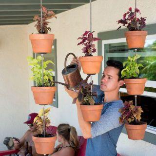 Decoração e Projetos Decoração de jardim vertical com vasos de barro