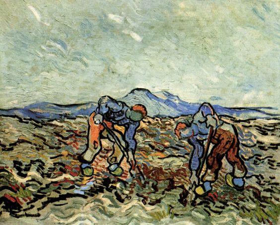 """""""Peasants Lifting Potatoes, 1890 Vincent van Gogh """""""