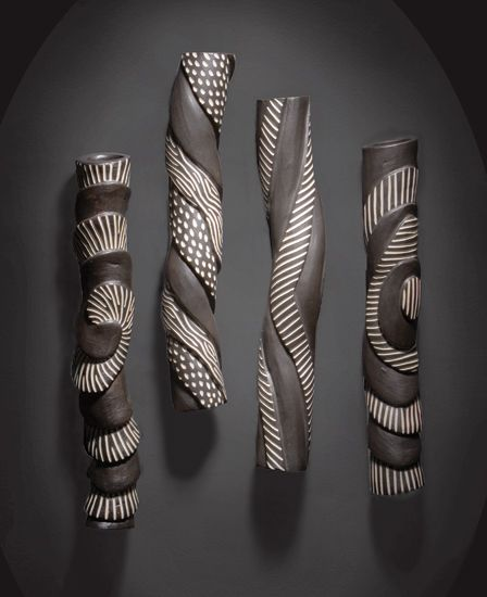 Sculptural Wall Tube Set: Larry Halvorsen: Ceramic Wall Art.