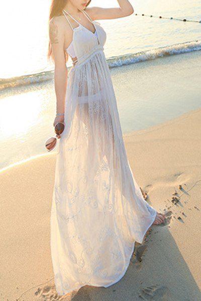 Sexy Halter Neck White See Through Beach Dress For Women