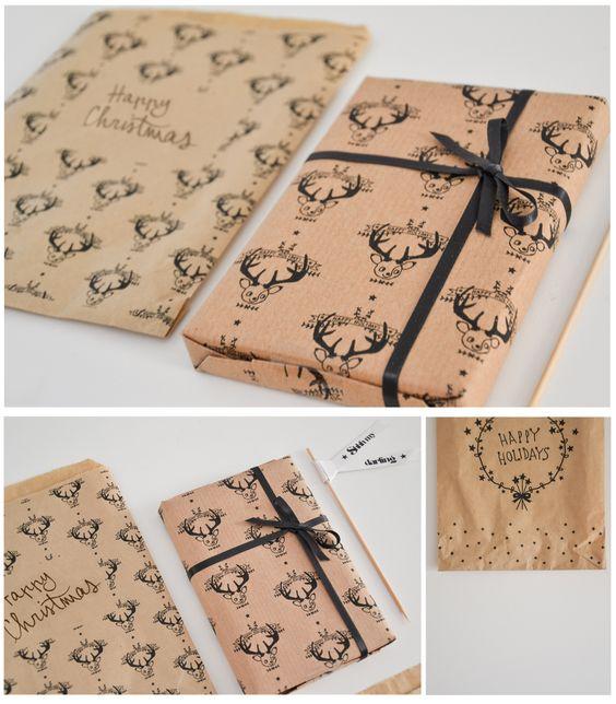 Christmas Gift Wrap - Free PDF Printable via Shhh My Darling Blog