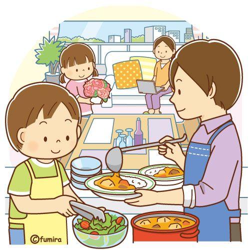食事の支度をするお父さんとこども 母の日のイメージ ソフト 子供のお絵かき 子供の漫画 子供