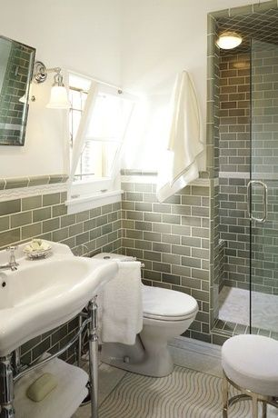 Traditional 3 4 Bathroom With Three Quarter Bath Ceramic Tile Floors Partial Backsplash Chair