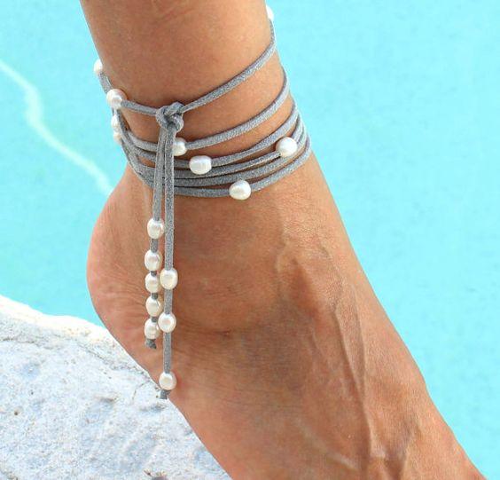 FRESHWATER Pearl Boho Multi Wrap Bracelet / Anklet by WrappedinYou, $39.00