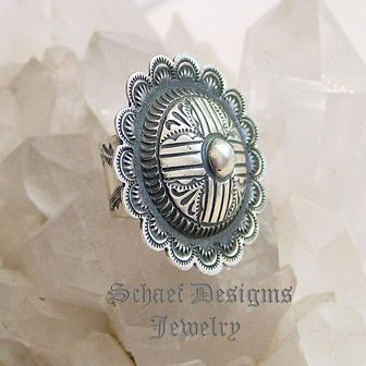 Vince Platero Stamped Zia Sterling Silver Native American ring  | Schaef Designs | New Mexico