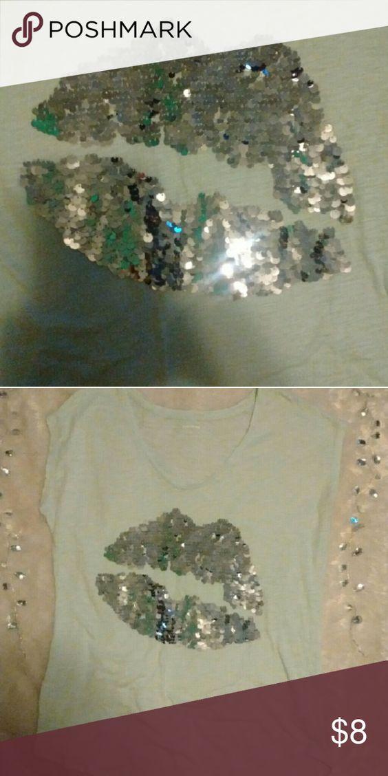 Sequin kiss shirt Express Sequin kiss shirt Express Tops
