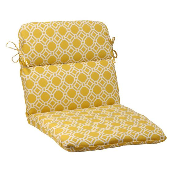 Pillow Perfect Rossmere Yellow Rounded Corners Hinged Chair Cushion - 506760