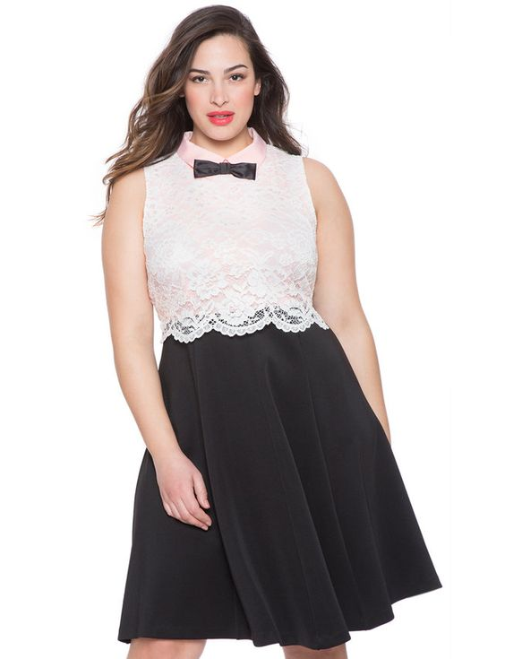 Lace Fit and Flare Dress from eloquii.com
