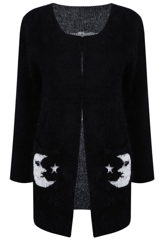 Shop Black Collarless Moon Star Fluffy Sweater Coat online
