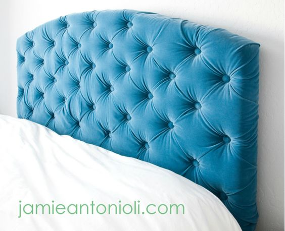 Tufted Headboard Tutorial.  Love this!