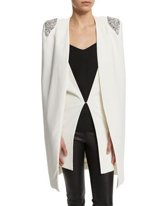 Zoey Embellished-Shoulder Cape, Ivory by Rachel Gilbert at Neiman Marcus.