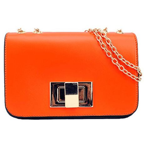 Zipper Cross Buckle Design Chains Belt Orange PU Shoulder Bag