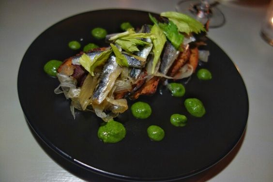 Love anchovies. Marinated anchovy, fennel, celery, olive oil crostini at @GrapesandSoda #Vancouver