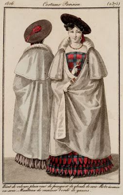 tartan dress (under cloak) and matching bonnet, Le Journal des Modes 1826: