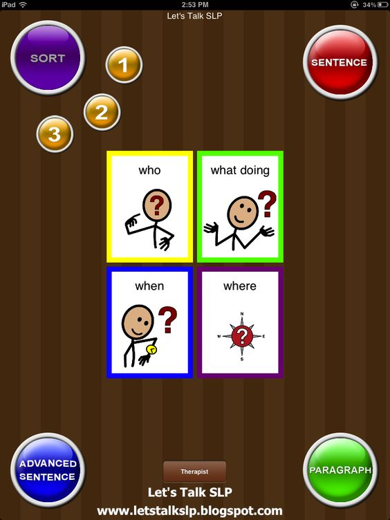 QuestionIt is an application that is designed to teach students how to answer WH-questions  - Pinned by @PediaStaff. - Please Visit http://ht.ly/63sNt for all our pediatric therapy pins