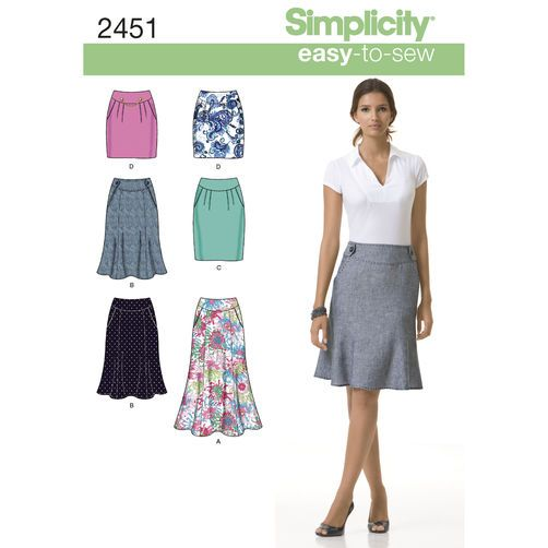 Simplicity Pattern 2451 Misses' Skirts