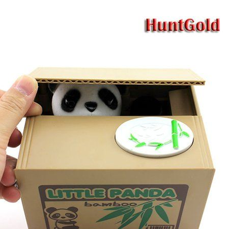 【UNTIL YOU】Cute Stealing Coins Cents Penny Cat Money Box Saving Money Collecting Money Piggy Bank Christmas Gifts for Kids Kids Christmas Gifts Cute Panda