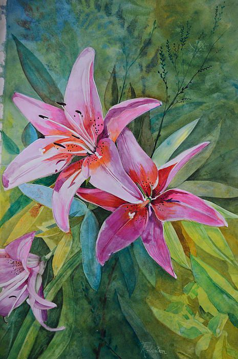 Pink Lilies-Watercolor