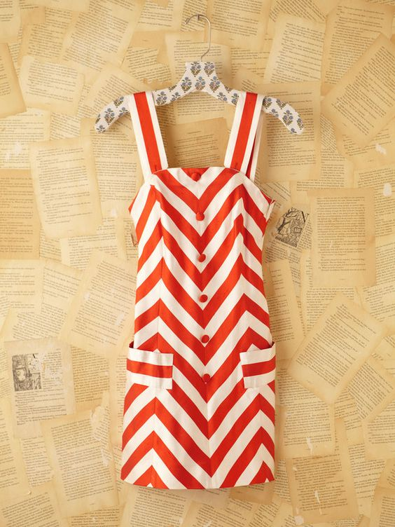 Vintage Red and White Striped Silk Mini Dress