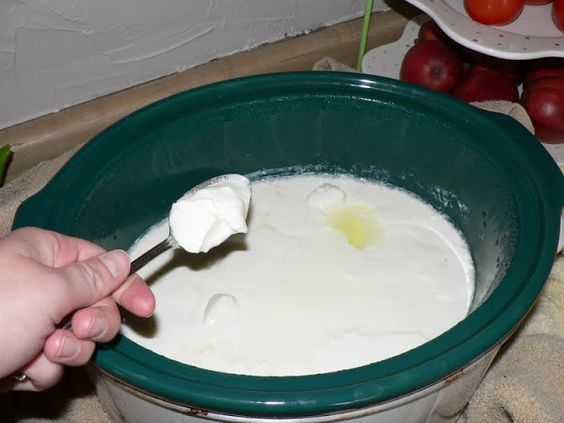 Crock Pot Yogurt 1/2 gallon (8 cups) whole milk (you'll get a thinner product with a lower fat content milk) 1/2 cup commercial plain yogu...