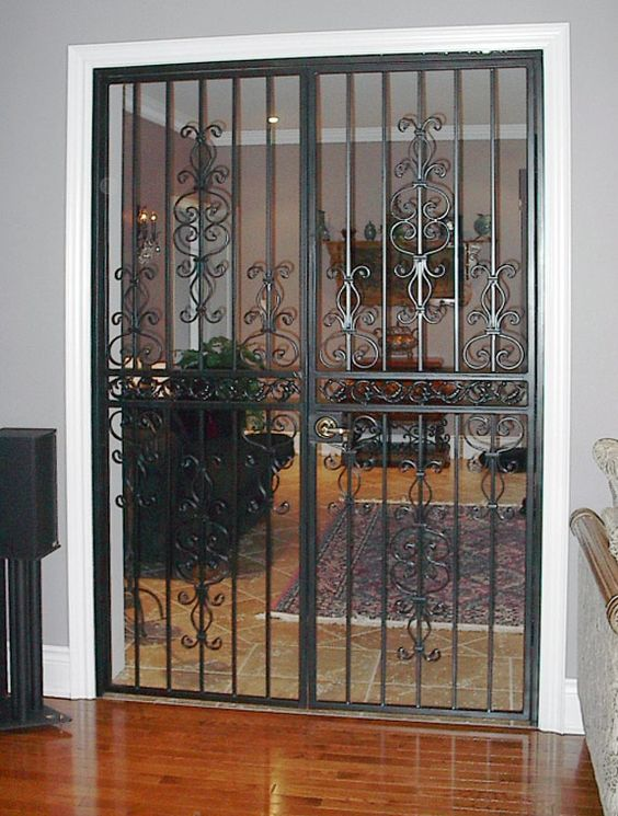 Security screen doors for double entry internal security for Double door screen door