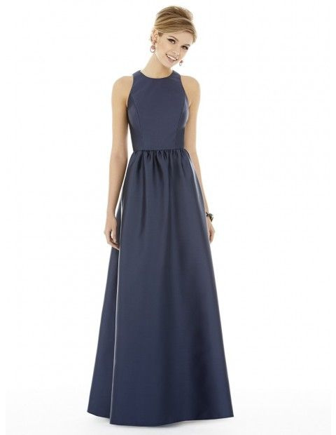 Demure and charming, the Alfred Sung D707 bridesmaid dress is a lovely full-length gown for the wedding. This simply styled gown is beautifully crafted in sateen twill. It showcases a sleeveless bodice with jewel neckline, and a full back with sleek keyhole opening. The long A-line skirt has side seam pockets and pleats at the natural waistline.