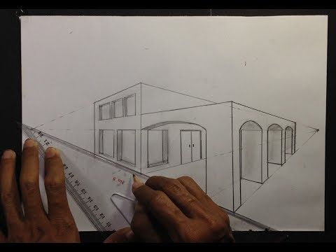 ARCHITECTURAL │How To Draw a Simple Modern House in 2 Point Perspective #11 YouTube in 2020 House design drawing Layout architecture Contemporary architecture house