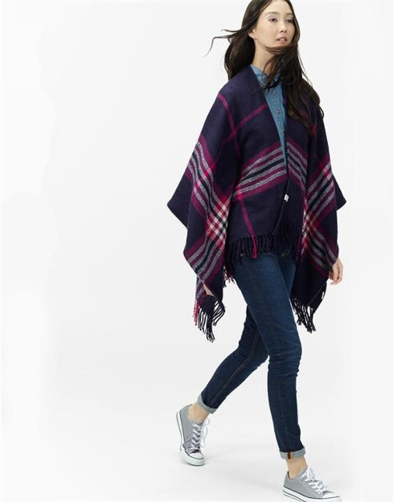 Innis Ruby Check Classic Wrap Scarf , Size One Size | Joules UK
