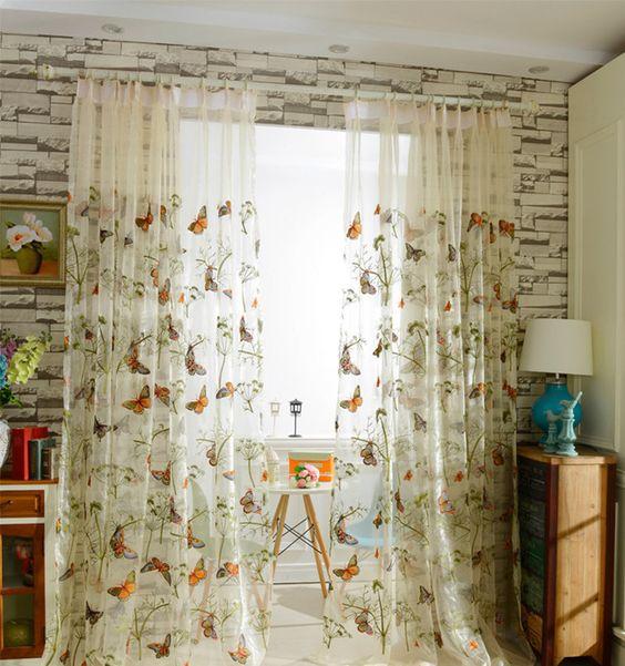 Barato casa moderna borboleta bordado tule janela cortina for Cortinas para casas modernas