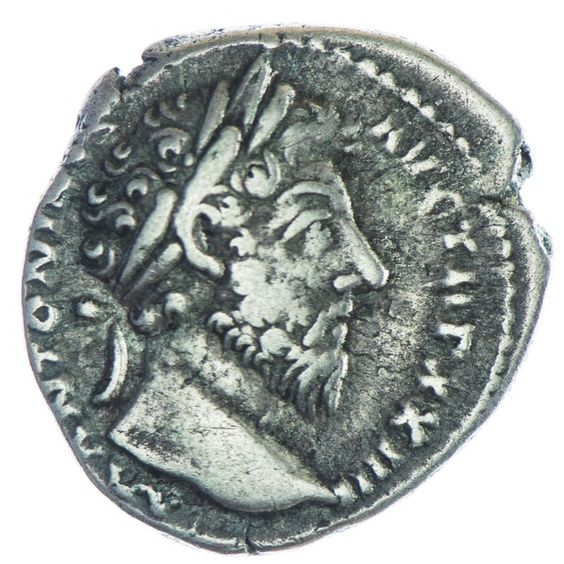Marcus Aurelius 161 - 180 Deanr Silber, Av: M ANTONINVS AVG TR P XXIIII, belorbeerter Kopf nach rechts, Rv: SALVTI AVG COS III, Salus steht nach links mit Szepter und füttert Schlange mit einer Patera am Altar