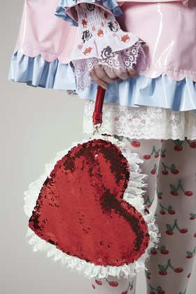 **Red Sequin Heart Bag by Meadham Kirchhoff Could TOTALLY DIY this