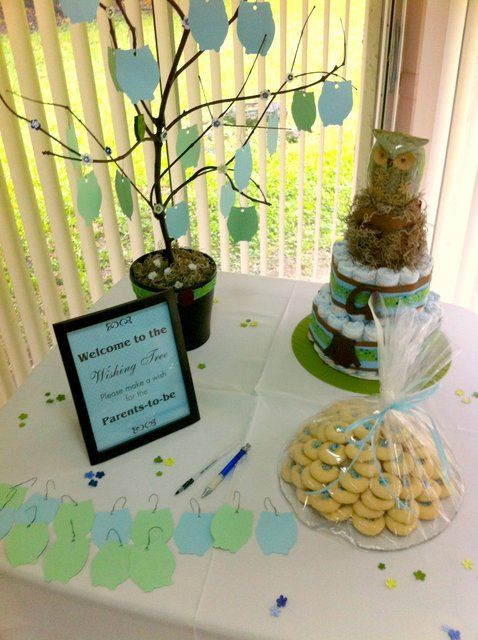 Owls baby shower party ideas make a wish cute owl and for Baby shower tree decoration
