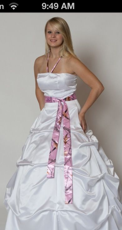White wedding dress with camo belt!!