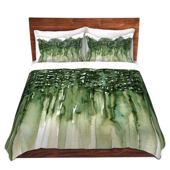 Unique Duvet Covers and Shams | Julia Di Sano - Forest Trees Green