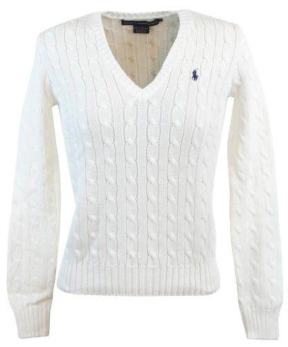 Ralph Lauren Sport Womens Cable Knit V-Neck Polo Pony Logo Sweater - White - Ralph Lauren Sport classic women\u0026#39;s cable knit sweater. Material is cotton.