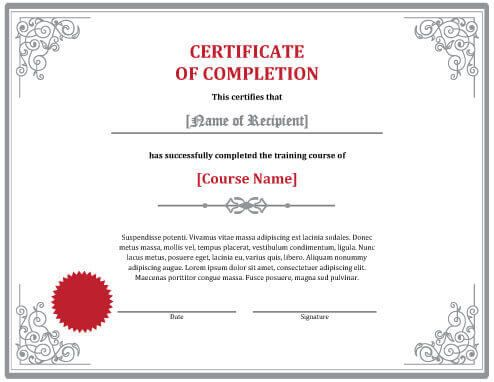 7 Certificates Of Completion Templates Free Download Hloom Intended For Free Certificate Templates Certificate Of Completion Template Certificate Templates
