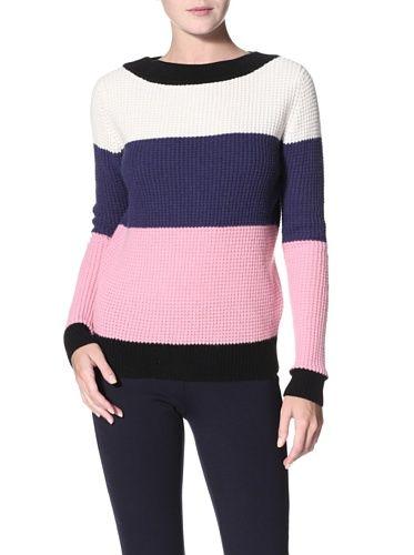 Shae Women's Waffle Stitch Sweater (White/Midnight/Pink)