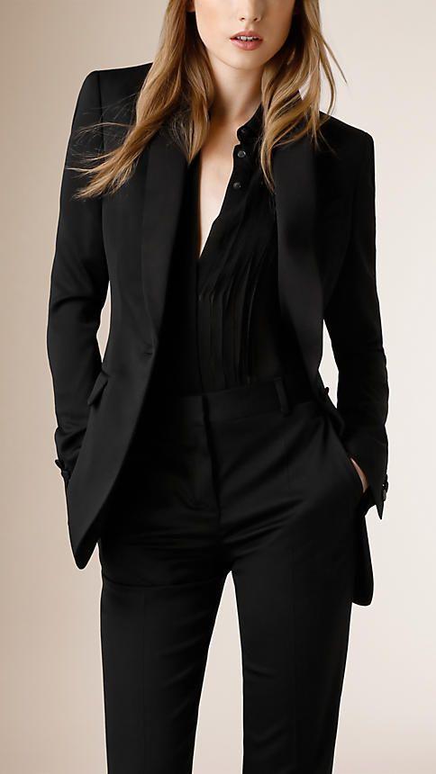 Schwarz Jackett aus Stretchwolle mit Satinrevers - Bild 1