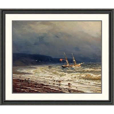Global Gallery 'Off the Turkish Coast' by Ivan Konstantinovich Aivasowsky Framed Painting Print Size:
