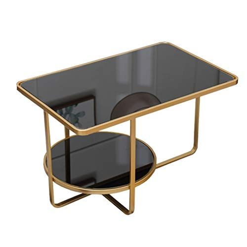 Wrought Iron Rectangular Coffee Table Double Glass Tabletop Gold