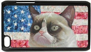 Grumpy Cat iPod Touch 4th Case US Flag White Cool Cat Snap On Case Cover  #GrumpyCat #iPod4Cases