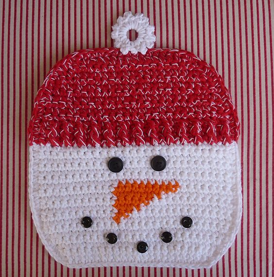 Free Crochet Snowflake Potholder Pattern : Snowman Potholder pattern by Doni Speigle Pinterest ...