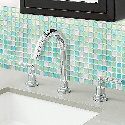 Yoillione 3d Fliesenaufkleber Mosaik Bad Fliesenfolie Kuche Selbstklebende 3d Mosaik Fliesen Sticker Weiss Wasser In 2020 Fliesenaufkleber Fliesenfolie Fliesen Sticker